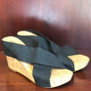 Lucky Brand Miller 2 Black Cork Wedge Sandals NWOT
